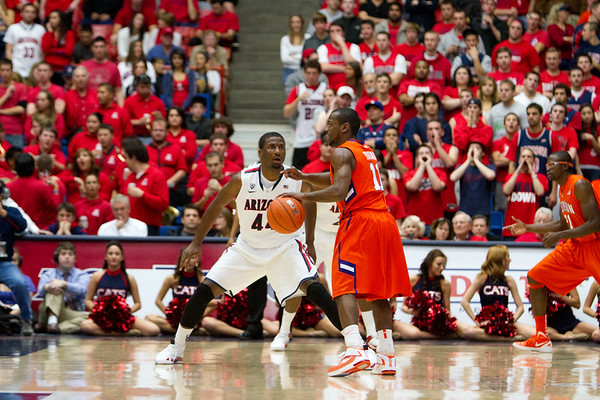 Solomon Hill - 44 guarding Young. Arizona vs Clemson basketball 10Dec2011