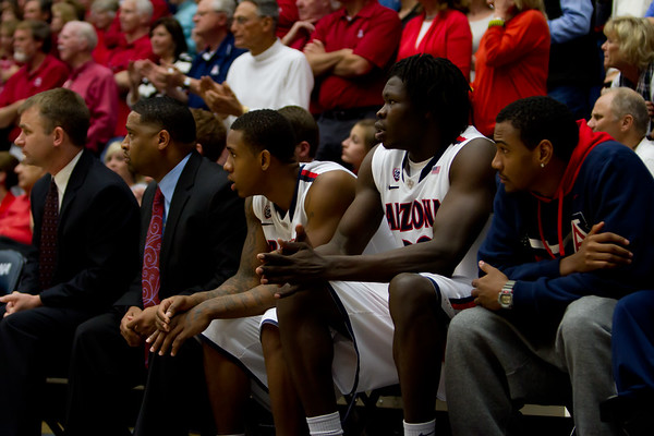 Josiah Turner (11), Angelo Chol (30) & Jordin Mayes (20). Arizona vs Utah basketball 11Feb2012