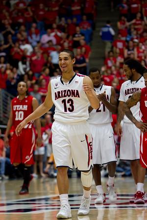 Nick Johnson (13), Kyle Fogg (21) & Jesse Perry (33). Arizona vs Utah basketball 11Feb2012