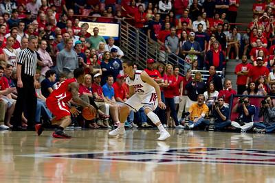 Nick Johnson (13) guarding Utes Kareem Storey (5). Arizona vs Utah basketball 11Feb2012