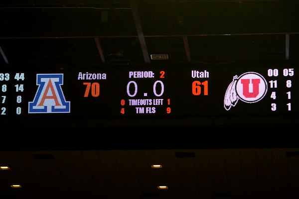 Final Score. Arizona vs Utah basketball 11Feb2012