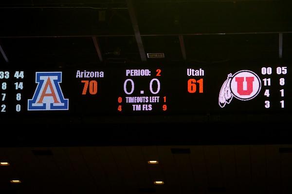 Final Score. Arizona vs Utah basketball 11Feb2012