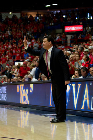 Sean Miller, UA head coach. Arizona vs Utah basketball 11Feb2012