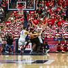 Brandon AShley (21), Gabe York (1), Keleb Tarczewski (35). Arizona vs Washington basketball 20Feb2013