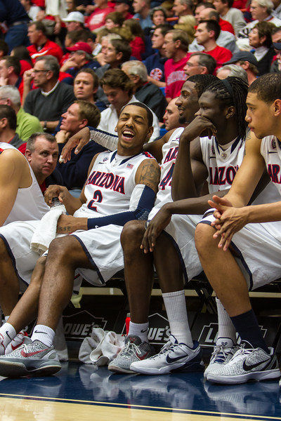 Mark Lyons (2), Salomon Hill (44), Angelo Chol (30), Brandon Ashley (21). Arizona vs Washington basketball 20Feb2013