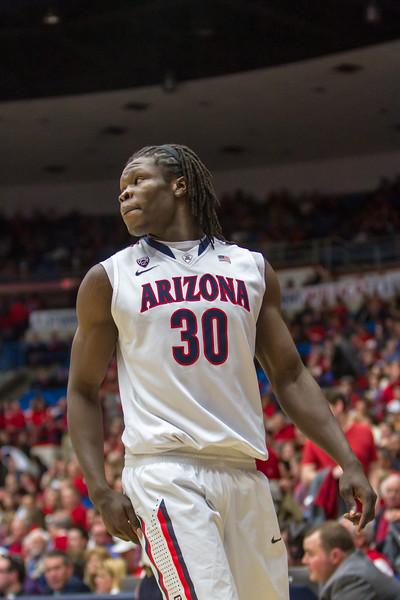 Angelo Chol (30). Arizona vs Washington basketball 20Feb2013