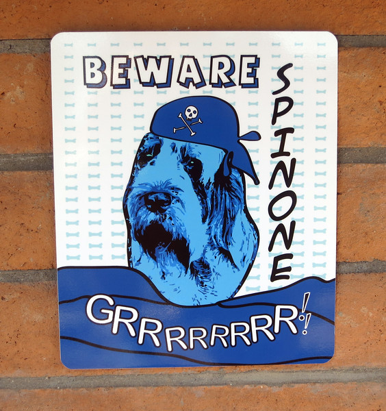 Beware Spinone Printed on Aluminum for Doghouse. A play on a Roy Lichtenstein poster.
