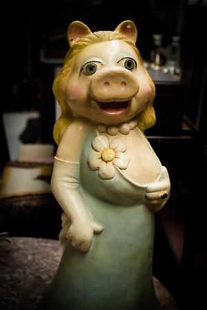 sultry Miss Piggy statue found in an antique store. Bisbee, Arizona USA