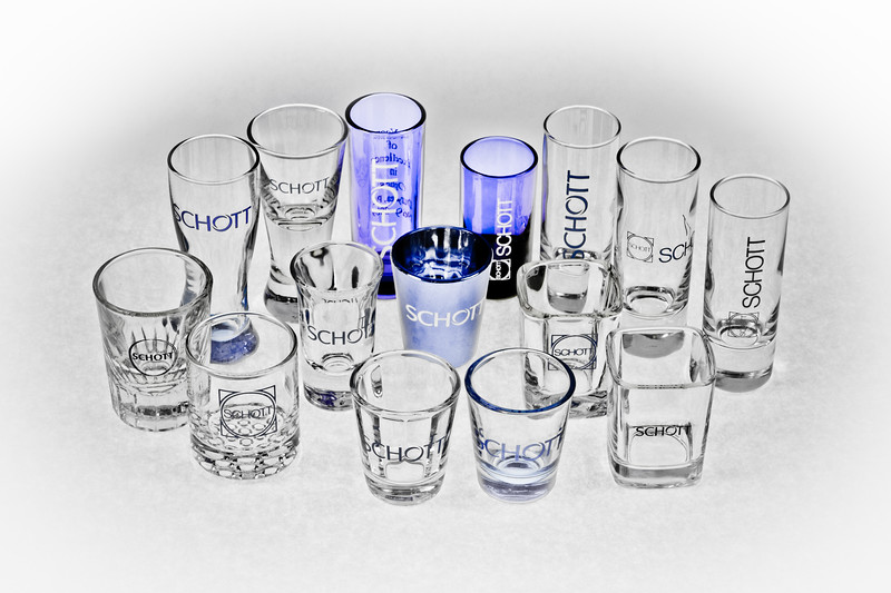 Collection of 15 Unique Schott shot glasses (desaturated)