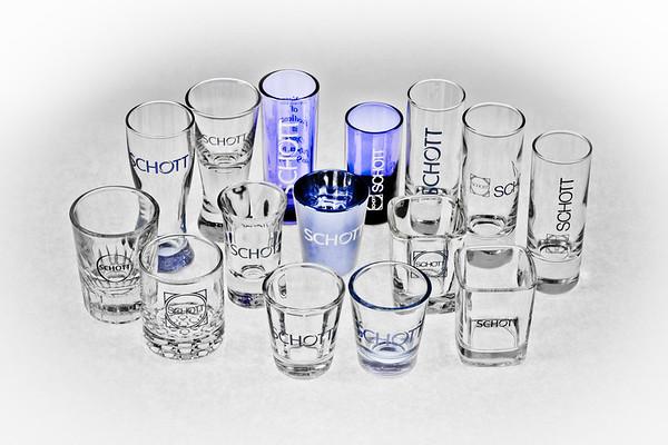 Collection of 15 Unique Schott shot glasses (desaturated)