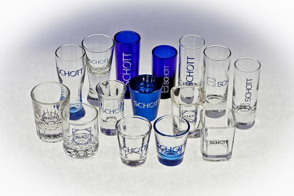 Collection of 15 Unique Schott shot glasses