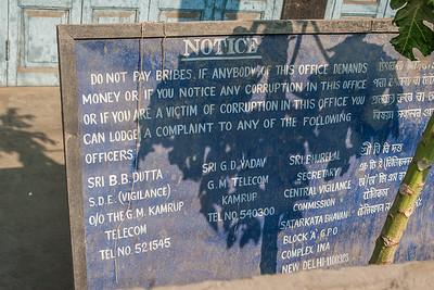 Bribery Sign. Guwahati, Assam India