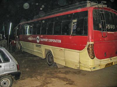 Bus from Guwahti to Tezpur. Dhaba Highway roadside restaurant. Raha, Assam India
