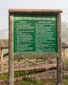 Kaziranga Visitor Rules. Kaziranga National Park, Tezpur, Assam India