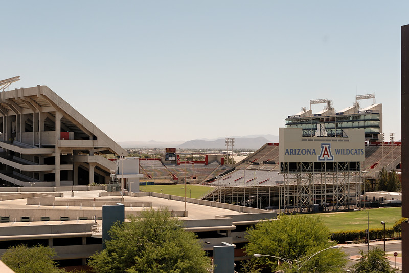 view of football stadium from OSC roof. The University of Arizona, Tucson, Arizona USA
