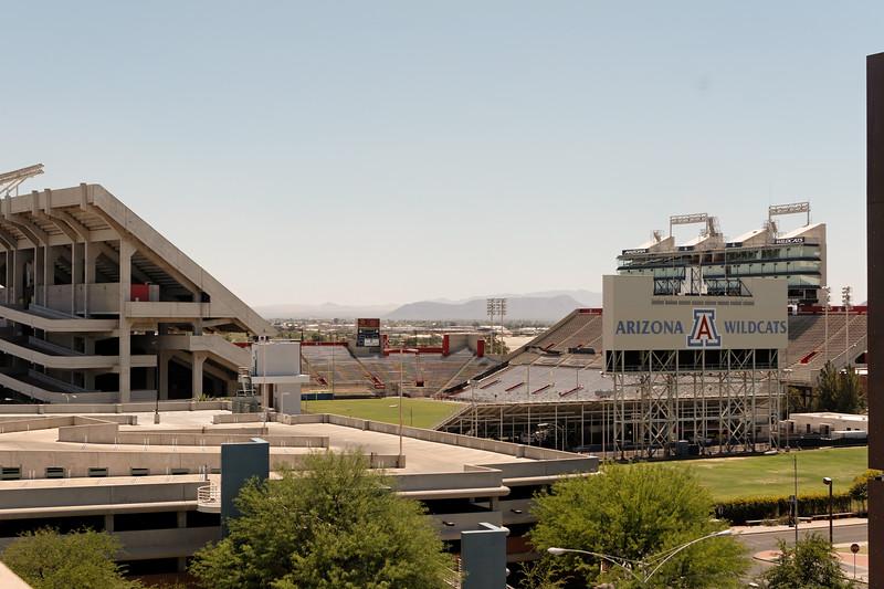 view of football stadium from OSC roof. The University of Arizona, Tucson, Arizona USA