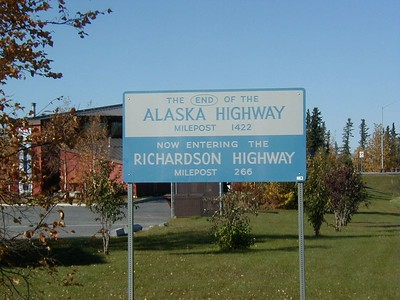 Junction of the Alaska Highway and the Richardson Highway at Delta Junction.
