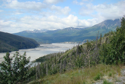 June 15, 2009  11:06 AM: Looking downstream to where the Chitina River joins the Copper River just below the highway bridge across the latter river.