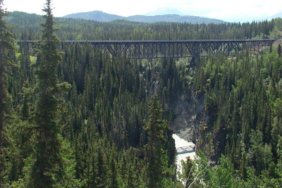 June 15, 2009  11:34 AM:  The former railroad trestle over the Kuskalana River.  This trestle was constructed during the winter of 1910-1911.