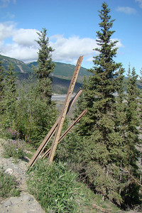 June 15, 2009  10:56 AM:  With the McCarthy Road built over the old Copper River Northwest Railway roadbed, it isn't surprising to come across old rail as well as ties.