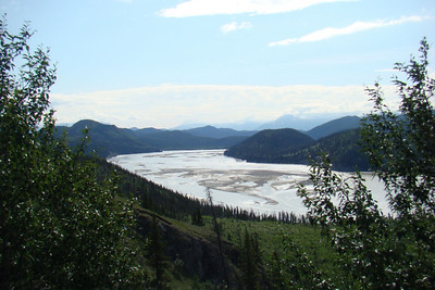 June 15, 2009  11:05 AM: Looking upstream over the Chitina River, a mile or two above its confluence with the Copper River.