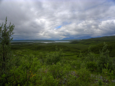 July 24, 2010  4:50 PM:  Looking north over Summit Lake in the Alaska Range, just north of Paxson on the Richardson Hwy.