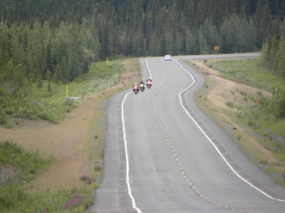 November 3, 2002 the already liberal Southcentral area of Alaska moved even farther left, causing disruptions in traffic and necessitating major highway rebuilding/repaving.  This jog is around Mile 80.5 of the Tok Cut-Off.