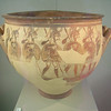 The Warrior Vase - The Athens Archaeological Museum. White figure painting style.