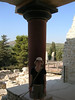 Tanya beside reconstructed pillar