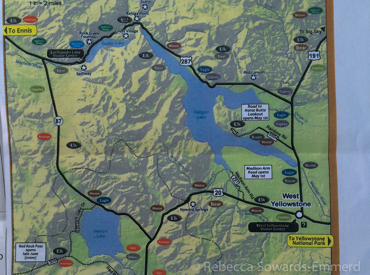 Since Yellowstone was closed, we got this spring map to wildlife viewing around West Yellowstone and decided to give the drive around the lake a shot.