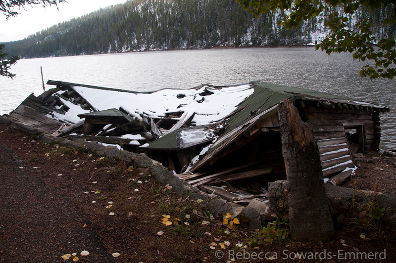 And old cabin at a resort destroyed by the quake in 1959.