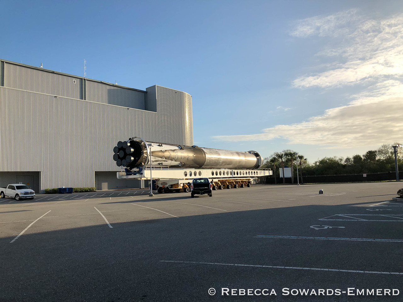 A Booster from SpaceX Falcon Heavy Launch was still sitting on its transport trailer behind the scenes. Super excited to have been able to see it!