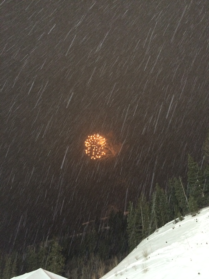 As the even wrapped up and the fireworks show started, the snow started dumping. I haven't been in snow like that in a while, it was beautiful! Also: never have experienced snow + fireworks at the same time!