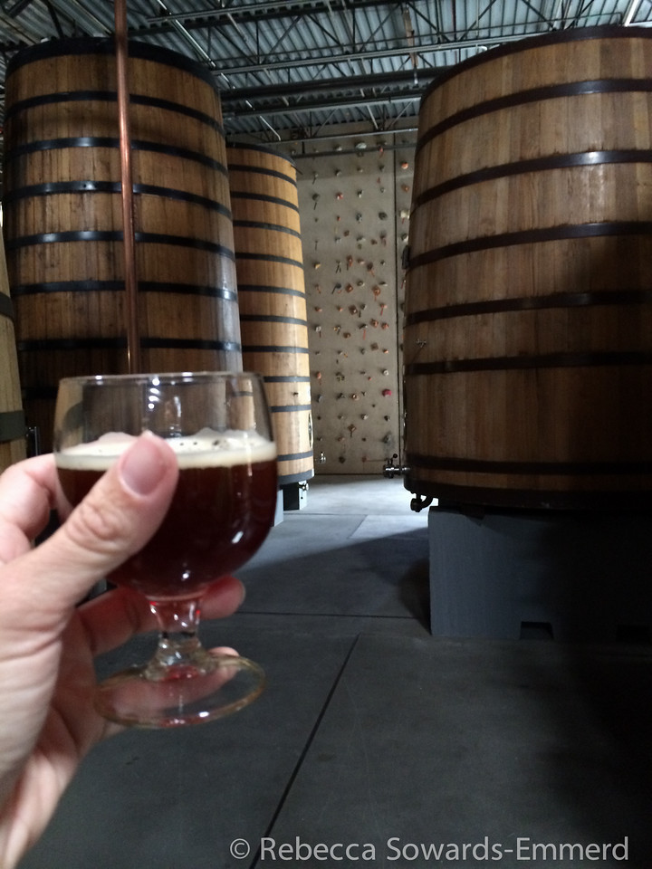 We are poured La Folie, my favorite new belgium beer (brown sour). I notice a climbing  wall behind the barrels. I ask for an application.