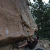 David on our warm up boulder.