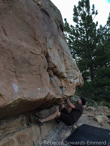 David on our warm up boulder.