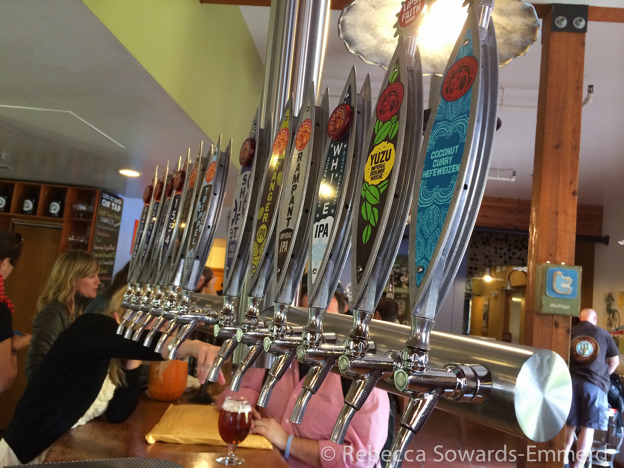 One of the sets of taps at the tasting room.