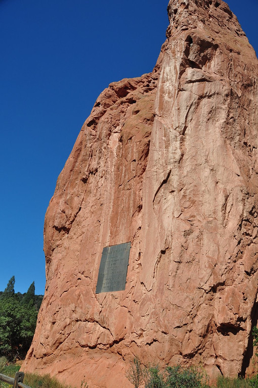 Garden of the Gods memorial plaque to the land donor.