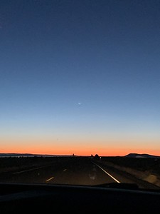 Moonrise as seen heading east on Highway 20 out of Bend