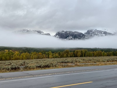 The following morning we got a short break in the clouds and could see the tetons poking out.