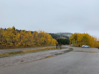 Snow + rain + clouds = no big mountain views but at least the fall colors were nice!