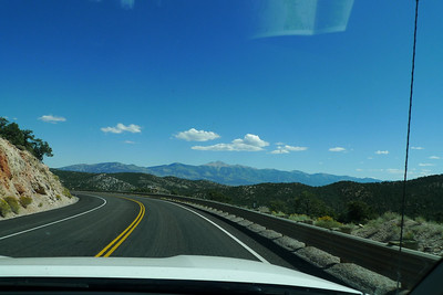 Driving through Nevada - first view of Wheeler Peak, something we'll be standing on later that day.