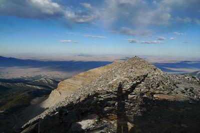David and shadow on the summit ridge.