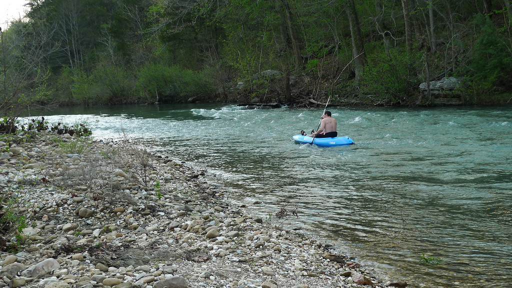 I should have taken a video here - he was paddling as hard as possible but wasn't moving at all, sitting there perfectly stationary. Ended up pulling the kayak out of the water and bypassing the strong current.