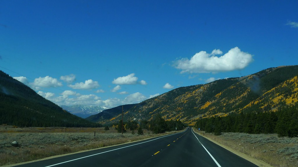 Fall colors through the windshield.