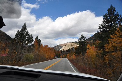 Fall colors through the windshield. We'll be going over Independence Pass to Aspen.