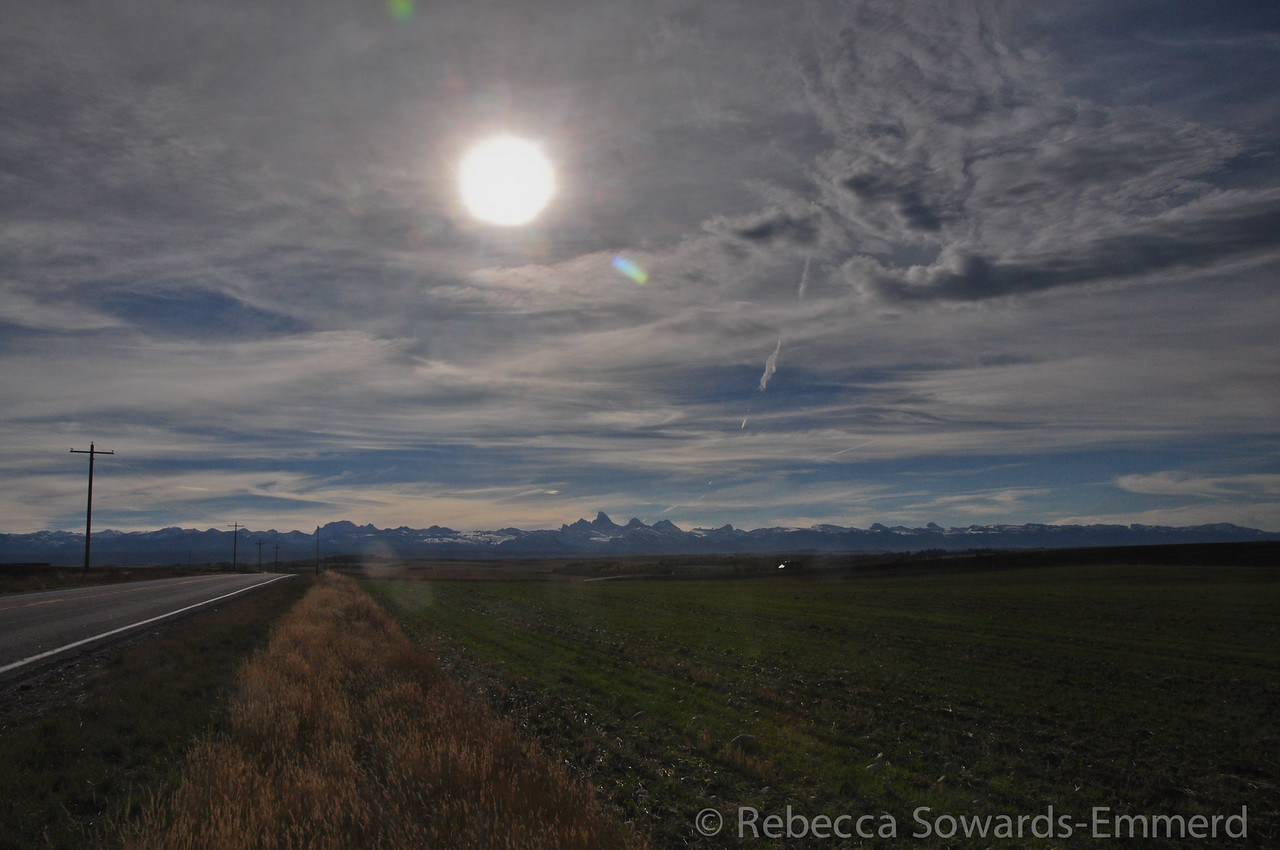 Driving down highway 33 towards Driggs on our way to Jackson, we get a nice sunrise over the Tetons