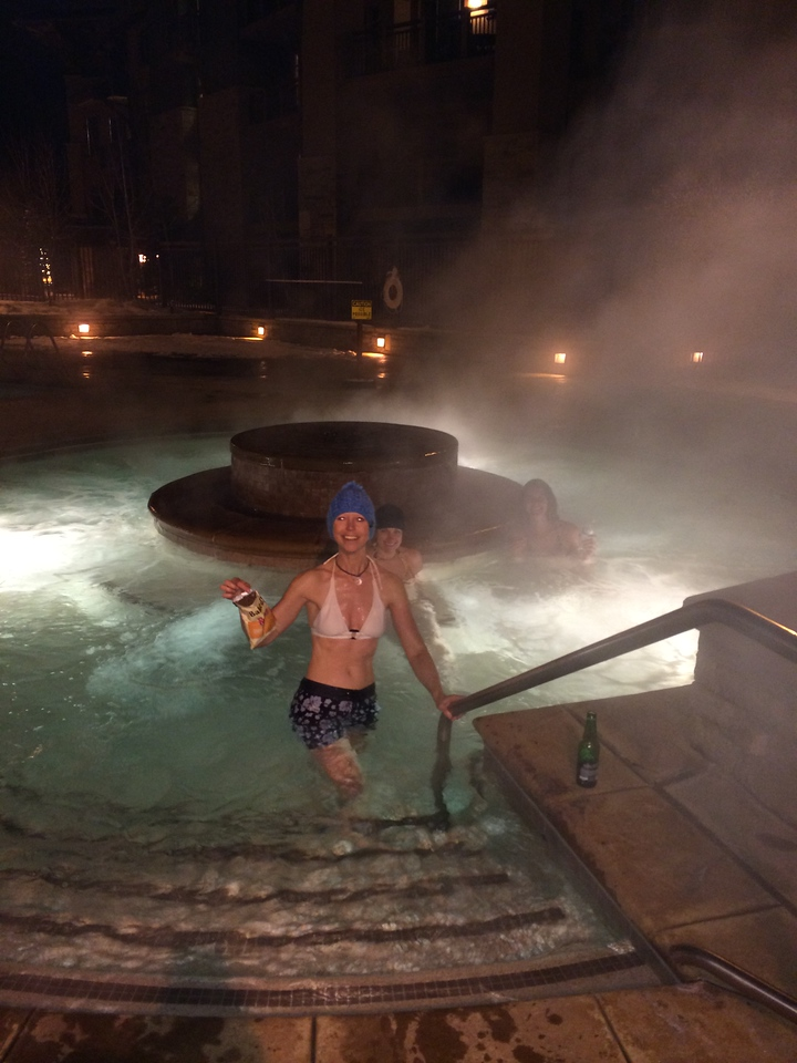 Back at the hotel, hitting the amazing hot tub.