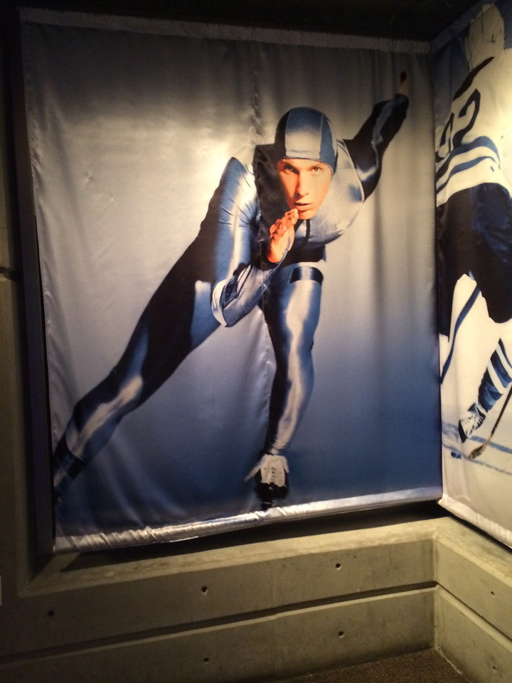 A poster of a speed skater that looked just like one of the OmniTen from our season (I'm on to you, John).