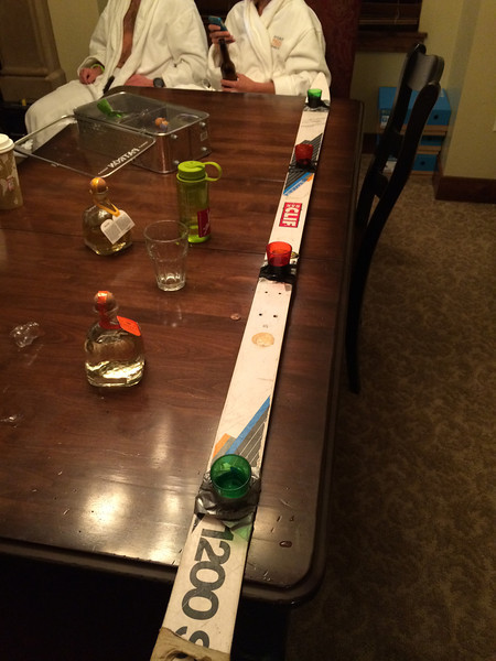 Back at the hotel for our last night. Out comes the shot ski.